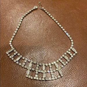 Rhinestone and silver tone statement necklace